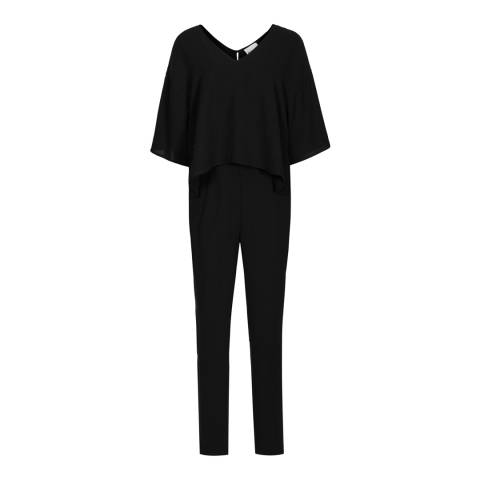 Reiss Black Bonnie Double Layer Jumpsuit