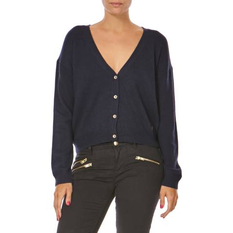Juicy Couture Navy Panther Sequin Wool Blend Cardigan