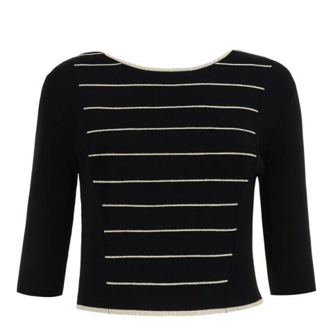 Ted Baker Black Shelina Stripe Knitted Crop Top