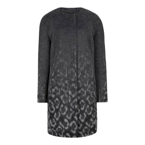 Ted Baker Charcoal Ceceli Exotic Print Cocoon Coat