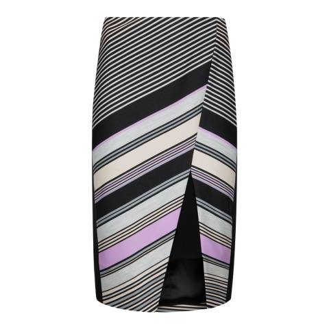 Ted Baker Black Elowese Multi Stripe Print Wrap Midi Skirt