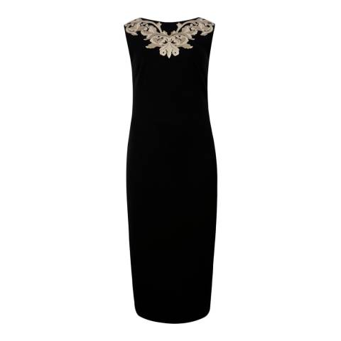 Ted Baker Black Tammara Metallic Embroidered Midi Dress