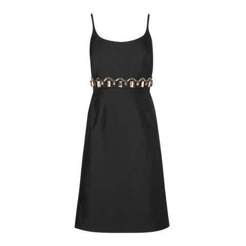 L K Bennett Black Odine Embellished Silk Wool Dress