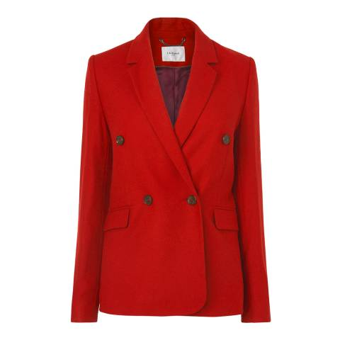L K Bennett Red Atida Double Breasted Wool Fitted Blazer