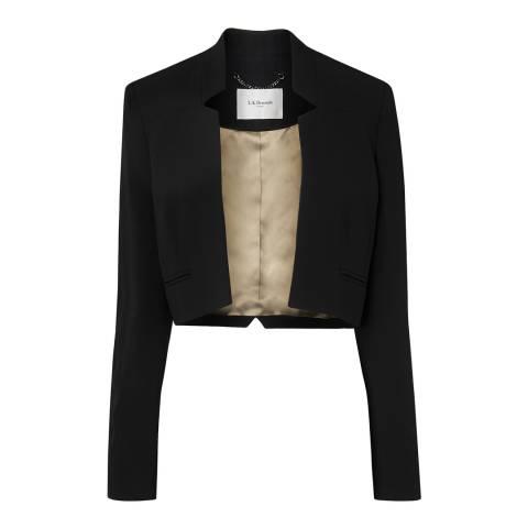 L K Bennett Black Tawna Long Sleeve Cropped Jacket