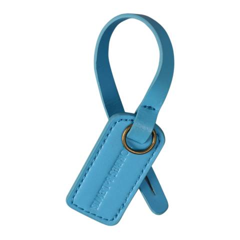 Forbes & Lewis Blue Leather Luggage Tag