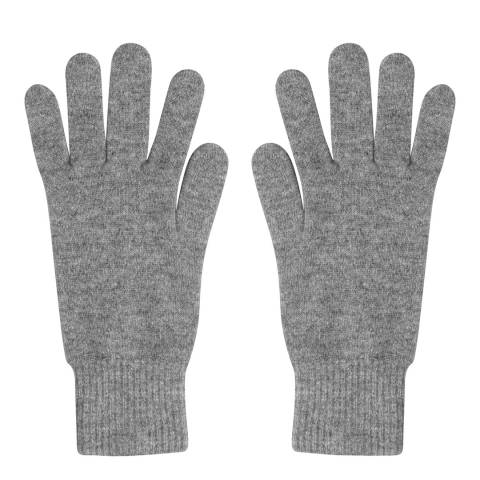 Laycuna London Grey Marl Cashmere Short Ribbed Gloves