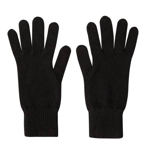 Laycuna London Black Cashmere Short Ribbed Gloves