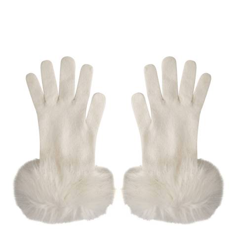 Laycuna London Winter White Faux Fur Trim Cashmere Gloves