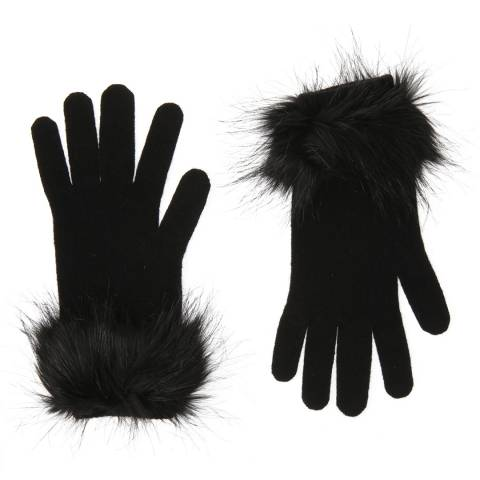 Laycuna London Black Cashmere Short Gloves with Faux Fur Trim