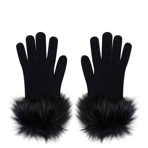 Laycuna London Navy Faux Fur Trim Cashmere Gloves
