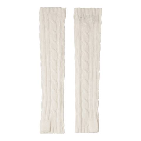 Laycuna London Winter White Cashmere Cable Knit Long Wrist Warmers