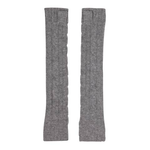 Laycuna London Grey Marl Cashmere Cable Knit Long Wrist Warmers