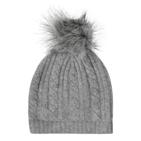 Laycuna London Grey Marl Cashmere Cable Knit Faux Fur Bobble Hat