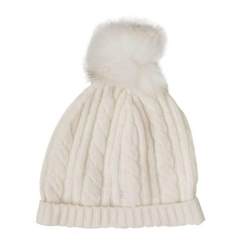 Laycuna London Winter White Cashmere Cable Knit Faux Fur Bobble Hat