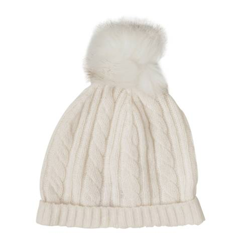 Laycuna London Winter White Cashmere Cable Knit Faux Fur Bobble Hat