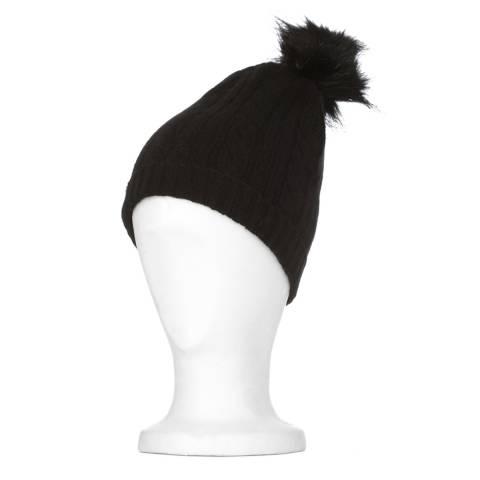 Laycuna London Black Cable Cashmere Knit Fur Bobble Hat