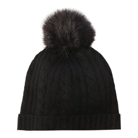 Laycuna London Black Cable Cashmere Knit Faux Fur Bobble Hat