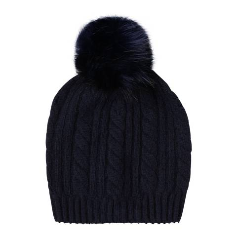 Laycuna London Navy Cashmere Cable Knit Faux Fur Bobble Hat
