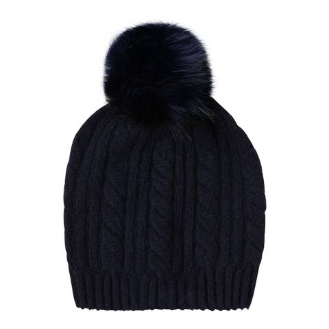 Laycuna London Navy Cable Cashmere Knit Faux Fur Bobble Hat