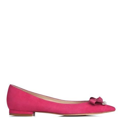 L K Bennett Fuschia Suede Embellished Steffi Ballet Flats