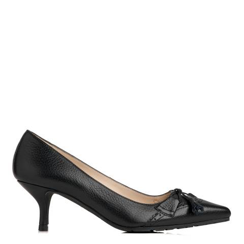 L K Bennett Black Grained Leather Maeve Kitten Heel s
