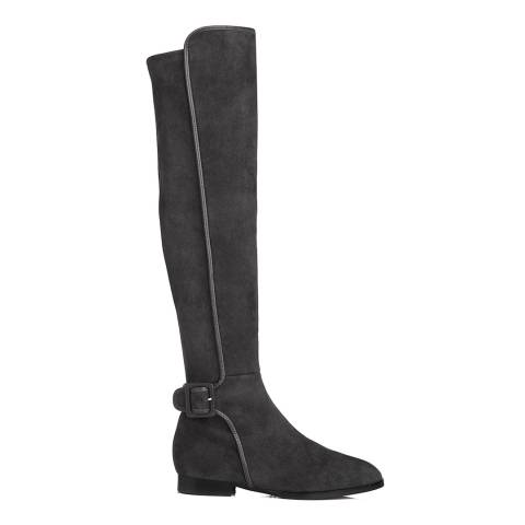L K Bennett Smoke Grey Suede Delila Riding Boots
