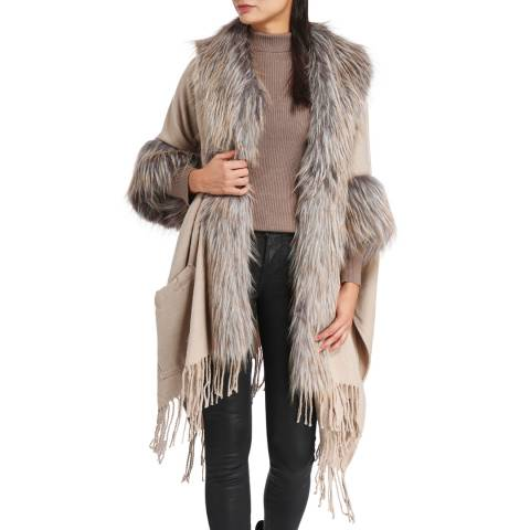 JayLey Collection Cream/Mocha Luxury Cashmere Blend Faux Fur Cape Coat