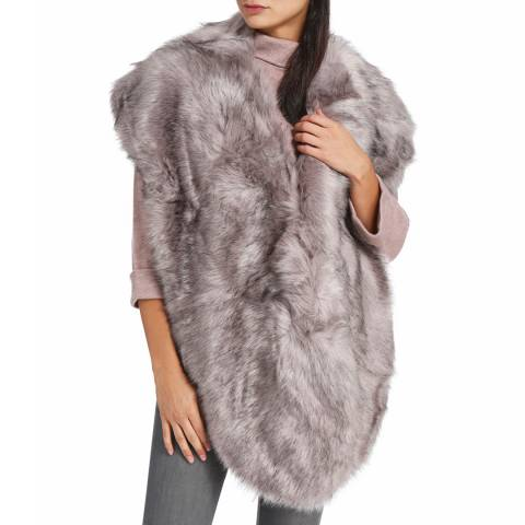 JayLey Collection Faux Fur Stole Mink Dark Grey