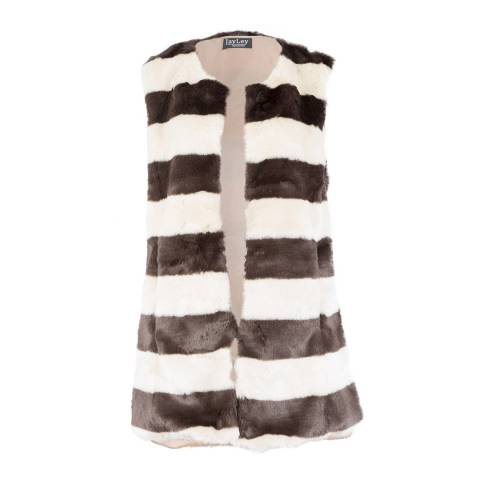 JayLey Collection Faux Fur Gilet Chocolate/White Stripe