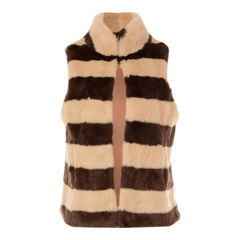 JayLey Collection Faux Fur Mocha Stripe Gilet Mocha