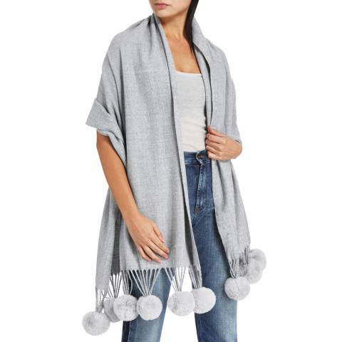 JayLey Collection Grey Cashmere Blend Faux Fur Pom Pom Wrap