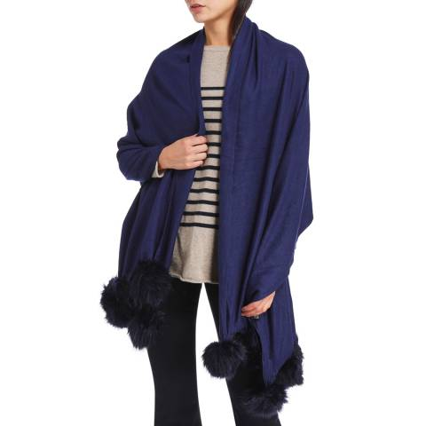 JayLey Collection Cashmere Blend Faux Fur Pom Pom Wrap Navy