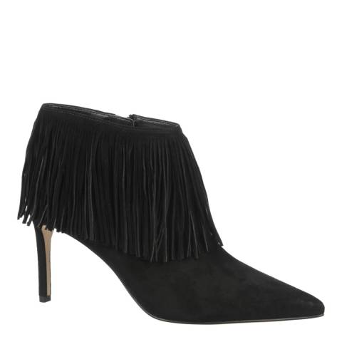 Sam Edelman Black Suede Fringed Stiletto Heel Kandice Boots