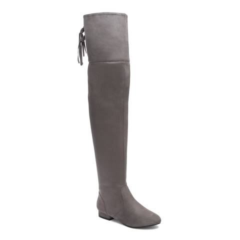 Krush Grey Suedette Over The Knee Boots