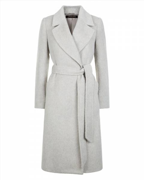Jaeger Grey Melange Textured 3/4 Wrap Coat