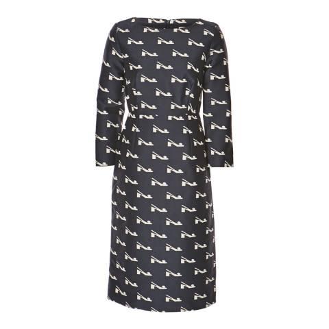 Orla Kiely Navy Blue Bobble Shoe Jacquard Fitted Dress