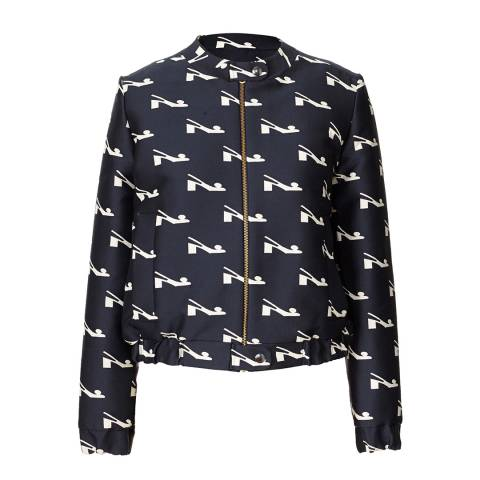 Orla Kiely Navy Blue Bobble Shoe Jacquard Jacket