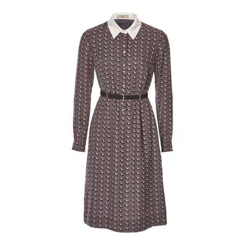Orla Kiely Deep Grey Ditsy Shoe Shirt Dress