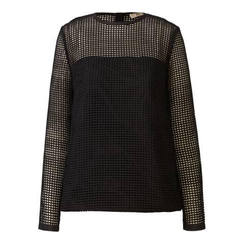 Orla Kiely Black Grid Eyelet Long Sleeve Top