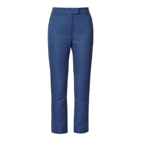 Orla Kiely Inky Blue Textured Daisy Jacquard Trousers