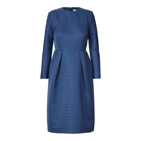 Orla Kiely Inky Blue Textured Daisy Jacquard Sleeved Dress