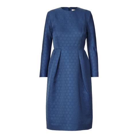 Orla Kiely Blue Textured Daisy Jacquard Sleeved Dress