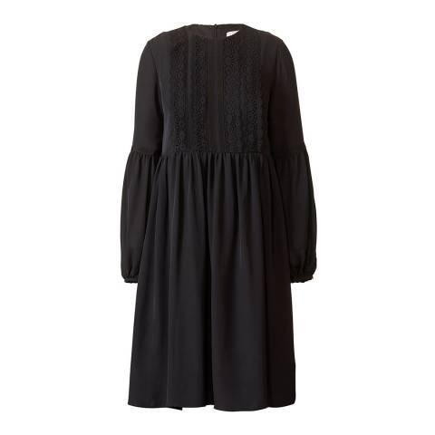 Orla Kiely Black Georgette Astrid Broderie Anglaise Regular Length Dress