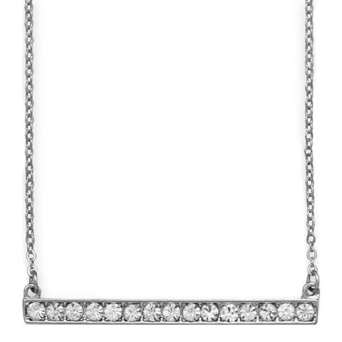 Black Label by Liv Oliver Silver Crystal Bar Necklace