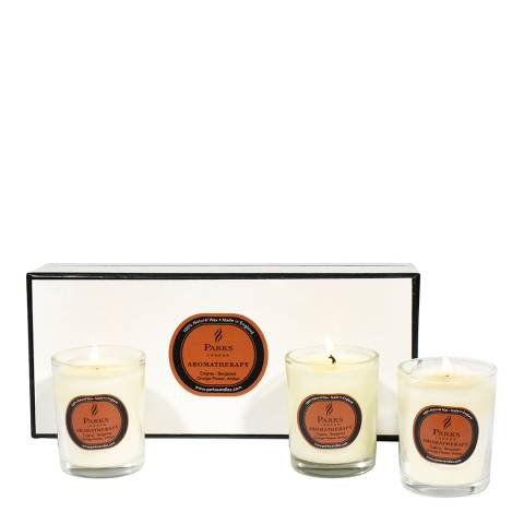Parks London Set of Three Cognac Aromatherapy Candle Glass Tots