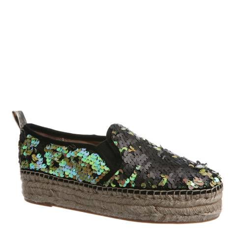 Sam Edelman Black Irridescent Sequin Carrin Platform Espadrilles