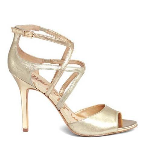 Sam Edelman Gold Leather Aeryn Heels