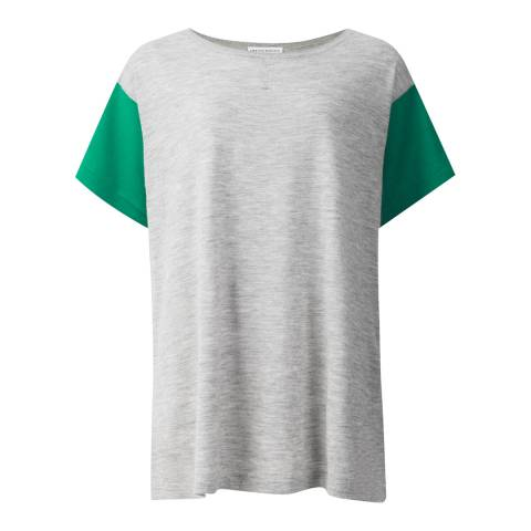 Amanda Wakeley Pebble/Emerald Delavigne Colour Block Cashmere Tee