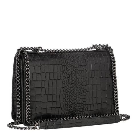 Lisa Minardi Black Leather One Chain Shoulder Bag